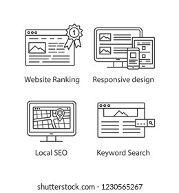 SEO linear icons set.Website ranking, responsive design, local SEO, keyword search. Thin line contour symbols. Isolated vector outline illustrations. Editable stroke