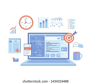 SEO Manager, Key Management, Content marketing. Coordinating and implementing search engine marketing programs. Laptop with web page and program code, icons. Vector illustration on white background.