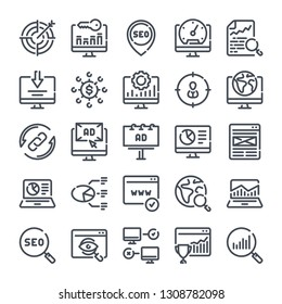 Seo and Marketing bold line icon set. Data organization and Development linear icons. Search Engine Optimization outline vector sign collection.