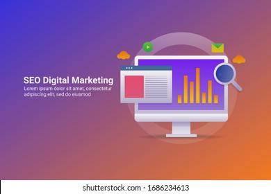 SEO-Marketing, Digital-Marketing, Marketing-Analyse - Vorlage für die Zielseite der konzeptionellen Vektorillustration