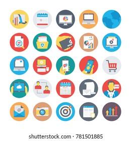 SEO and Marketing Flat Circular Icons 1