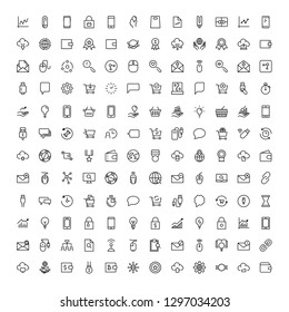 Seo marketing flat icon set. Single high quality outline symbol of info for web design or mobile app. Thin line signs for design logo, visit card, etc. Outline logo of seo marketing