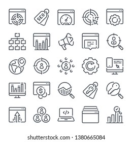 Seo and Marketing related line icon set. Data organization and Development linear icons. Search Engine Optimization outline vector sign collection.