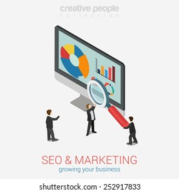 SEO marketing website analytics report flat 3d web isometric infographic concept vector. Micro businesspeople with magnifier glass deeply peer into data on desktop monitor. Creative people collection.
