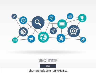 SEO network. Growth abstract background with lines, circles, integrate flat icons. Connected symbols for digital, connect, analytics, social media and market concepts. Vector interactive illustration.