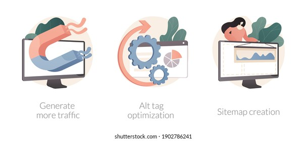 SEO online service abstract concept vector illustration set. Generate more traffic, alt tag optimization, sitemap creation, page navigation, search engine, marketing research abstract metaphor.