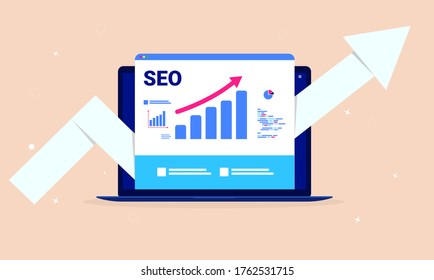 SEO optimisation - Laptop computer with search engine performance tools, rising graph and big arrow pointing upwards. Performance marketing, analytics and search engine ranking concept. Vector.