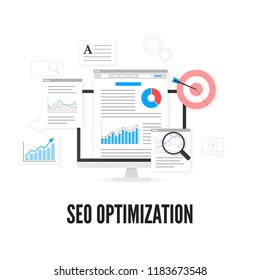 SEO optimization concept. Web analytics design. Search engine optimization. Vector illustration