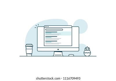 SEO optimization concept. Website promotion. Vector illustration in line art style