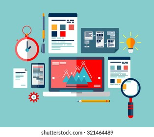 SEO optimization icons set, programming process and web analytics elements. The process of creating and implementing ideas.