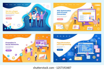 Seo optimization increase of conversion, team gathering successful teamwork vector. Modern illustration of people holding award in hands, algorithmization and programming, flat style - Vector
