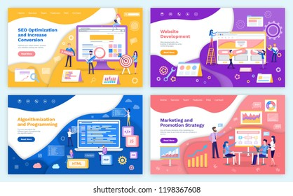 SEO optimization increase of conversion web pages set with text sample vector. Algorithmization and programming with html, php and css, js coding