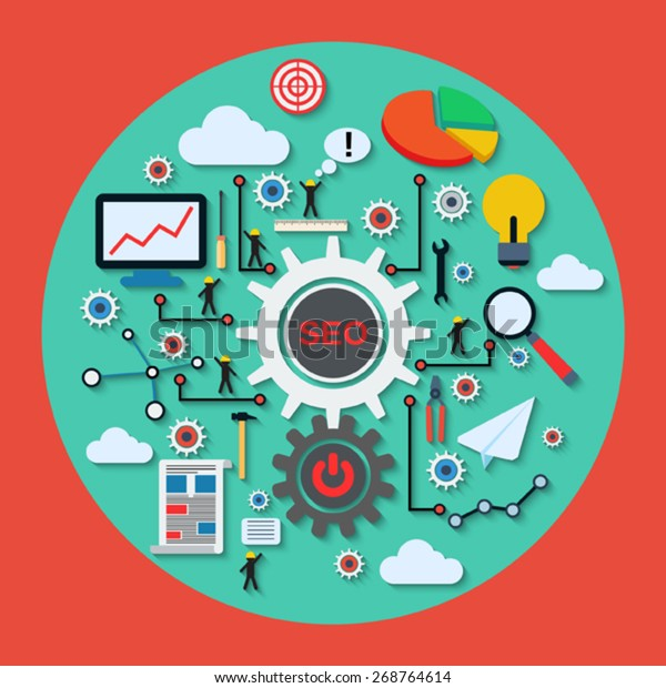 SEO optimization, information analysis and cloud computing vector concept. Flat icons with long shadows collection.