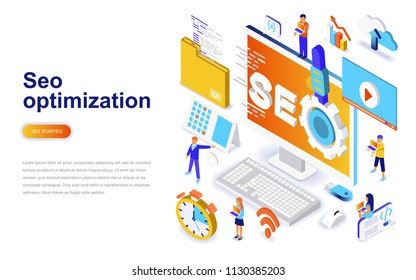 Seo optimization modern flat design isometric concept. Search engine and people concept. Landing page template. Conceptual isometric vector illustration for web and graphic design.