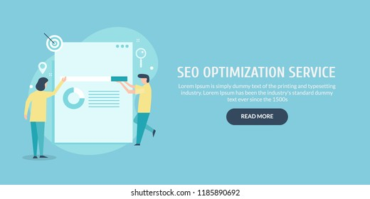 SEO optimization, People offering seo services, Business seo success flat vector banner with icons and texts
