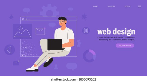 Seo optimization. Web designer or grogrammer is working on the creation of web, ui ux or application design, new project or coding. Mobile app prototyping banner, landing page or advertisement.