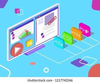 Seo optimization web images moderated. Flat isometric infographics or banner. Illustration isolated with programmers languages and pages of website.