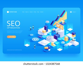 Seo optimization for website and mobile website. Landing page template. Easy to edit and customize. Can use for web banner, infographics, hero images. Flat isometric vector illustration
