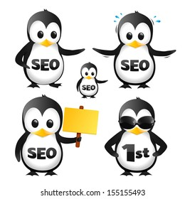 SEO Penguin Mascot Characters On A White Background
