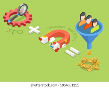 SEO plus inbound marketing flat isometric vector concept of an effective sales strategy.