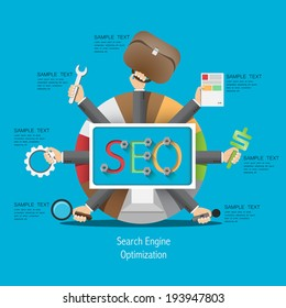 SEO process in a flat style / vector hand with a tool kit template