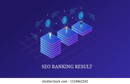 SEO ranking, Search engine result - 3D style isometric banner with icons