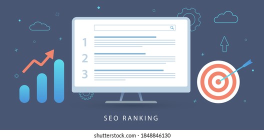SEO Ranking, Search Engine Results Pages (SERPs) concept. Marketing seo ranking Analysis Tool, Keyword research and search ranking audit report flat vector banner illustration with icons.