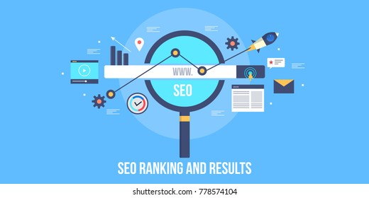 Seo ranking, Search engine results, Search optimization marketing flat vector banner illustration with icons
