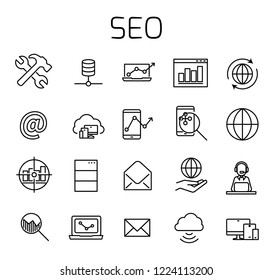 SEO related vector icon set. Well-crafted sign in thin line style with editable stroke. Vector symbols isolated on a white background. Simple pictograms.
