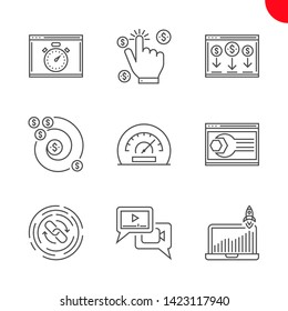 SEO Related Vector Line Icons Set. Website optimization, efficiency, growth traffic, pay per click, landing page, backlinks, return on investment, seo perfomance, video marketing. Editable Stroke
