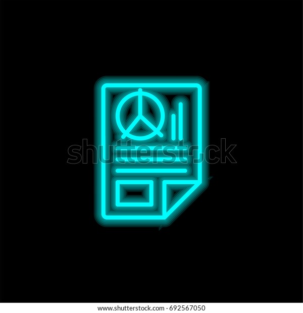 Seo report blue glowing neon ui ux icon. Glowing sign logo vector