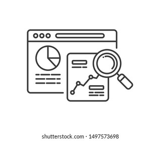 Seo research black line icon. Search engine optimization sign. Analysis and analitycs web page concept. Keyword search. Digital marketing symbol. Editable stroke.