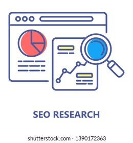 Seo research colorful line icon. Search engine optimization sign. Analysis and analitycs web page concept. Keyword search. Digital marketing symbol. Editable stroke.