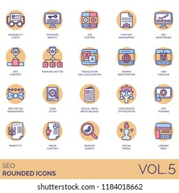 SEO rounded icon set. Readability check, keyword density, content management, contest, ranking factor, translation, domain registration, case study, press release, conversion, search, landing page.