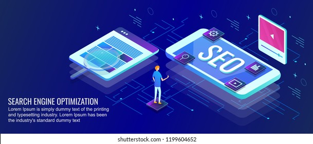 SEO or Search engine optimization 3D style isometric banner on dark background