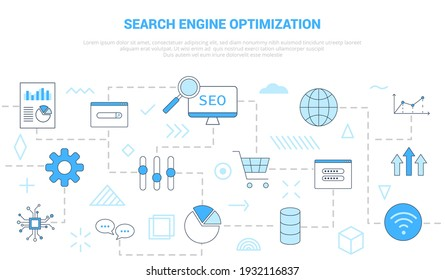 seo search engine optimization concept with icon set template banner with modern blue color style