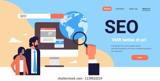 Seo search engine optimization couple monitoring using magnifier global internet searching concept process flat horizontal banner copy space vector illustration
