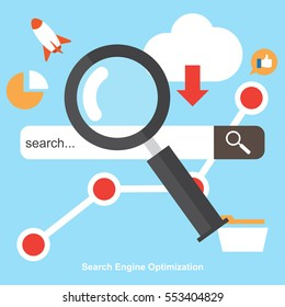 SEO , Search Engine Optimization. Digital Marketing. Icons set of analytics search , information and website.Vector Illustration.