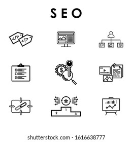 SEO, Search Engine Optimization icons set for website and social media: Keywords, Ranking, Backlinks, Meta tags, Directories, Optimization. Vector design