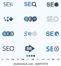 SEO, Search Engine Optimization Internet Click Logo And Icon - vector