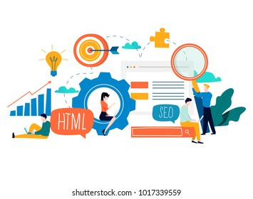 SEO, search engine optimization, keyword research, market research flat vector illustration. SEO concept. Web site coding, internet search optimization design for mobile and web graphics