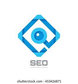 SEO - Search Engine Optimization - vector logo template concept illustration. Abstract magnifier sign. Design element.