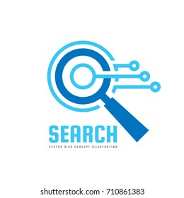 SEO - Search Engine Optimization - vector logo template concept illustration. Abstract electronic technology creative sign. Magnifier sign. Lens icon. Design element.   Design element.