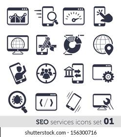 SEO services icons set 01 MONO
