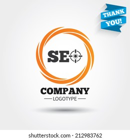 SEO sign icon. Search Engine Optimization symbol. Business abstract circle logo. Logotype with Thank you ribbon. Vector
