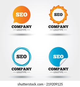 SEO sign icon. Search Engine Optimization symbol. Business abstract circle logos. Icon in speech bubble, wreath. Vector
