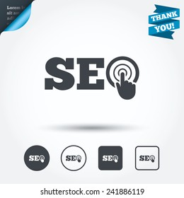 SEO sign icon. Search Engine Optimization symbol. Circle and square buttons. Flat design set. Thank you ribbon. Vector