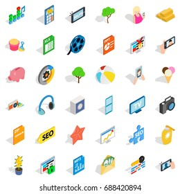 Seo site icons set. Isometric style of 36 seo site vector icons for web isolated on white background