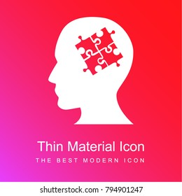 SEO specialist bald head male symbol with puzzle pieces inside red and pink gradient material white icon minimal design