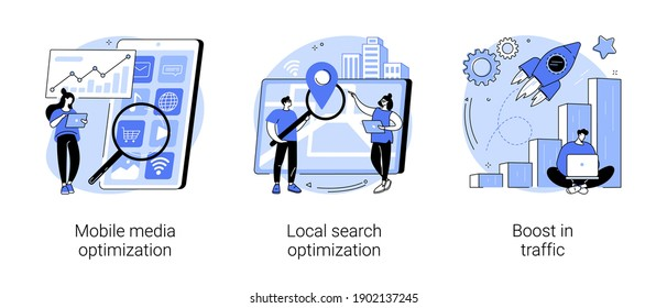 SEO strategy abstract concept vector illustration set. Mobile media optimization, local search, boost in traffic, search engine targeting, business digital promotion, visitor growth abstract metaphor.
